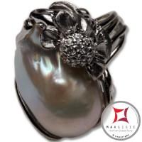 Anello etrusco Perle Zirconi Foglie in Argento 925 id0026