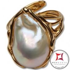 Anello etrusco Perle in Argento 925 placcato Oro id0030