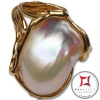 Anello etrusco Perle in Argento 925 placcato Oro id0032