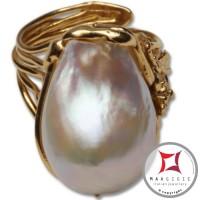 Anello etrusco Perle Foglie in Argento 925 placcato Oro id0033