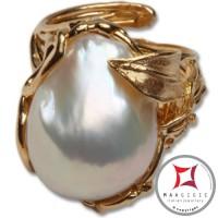 Anello etrusco Perle Foglie in Argento 925 placcato Oro id0034