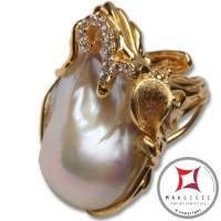 Anello etrusco Perle Zirconi Foglie in Argento 925 placcato Oro id0035