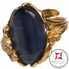 Anello etrusco Kyanite Zirconi Foglie in Argento 925 placcato oro id0036