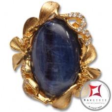 Anello etrusco Kyanite Zirconi Foglie in Argento 925 placcato oro id0037