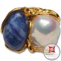 Anello etrusco Kyanite Perle in Argento 925 placcato oro id0038
