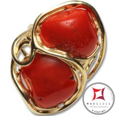 Anello etrusco Corallo rosso Mediterraneo in Argento 925 placcato Oro id0040