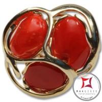 Anello etrusco Corallo rosso Mediterraneo in Argento 925 placcato Oro id0041