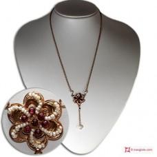 Collana Vintage Toppa [Granato, Perle] in Argento 925 placcato Oro