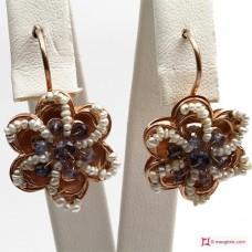 Orecchini Vintage Toppa [Iolite, Perle] in Argento 925 placcato Oro