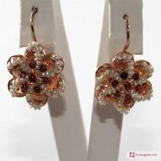Orecchini Vintage Toppa [Granato, Perle] in Argento 925 placcato Oro