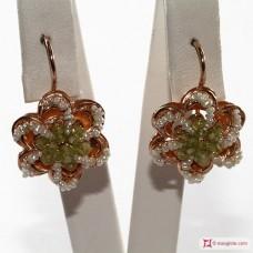 Orecchini Vintage Toppa [Peridoto, Perle] in Argento 925 placcato Oro