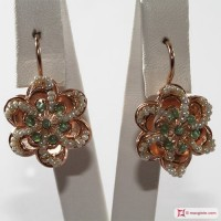 Orecchini Vintage Toppa [Agata verde, Perle] in Argento 925 placcato Oro