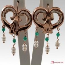 Orecchini Vintage Virgola [Agata verde, Perle] in Argento 925 placcato Oro