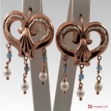 Orecchini Vintage Virgola [Agata azzurra, Perle] in Argento 925 placcato Oro