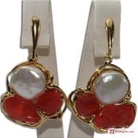 Orecchini etrusco Corallo rosso Perle 49x28mm in Argento 925 placcato Oro id10