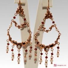 Orecchini Vintage Style [Granato, Perle] in Argento 925 placcato Oro