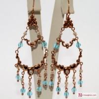 Orecchini Vintage Style [Azzurro, Perle] in Argento 925 placcato Oro