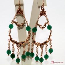 Orecchini Vintage Style [Agata verde, Perle] in Argento 925 placcato Oro