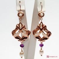 Orecchini Vintage [Perle, Ametista] in Argento 925 id16