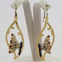 Orecchini Foglia con Farfalla [Perle, Lapis, Granato] in Argento placcato Oro