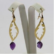 Leaf with Amethyst Earrings in Gold Plated Silver