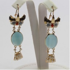 Owl with Sea Blue Chalcedony Earrings [Pearls, Coral, Garnet] in Gold Plated Silver