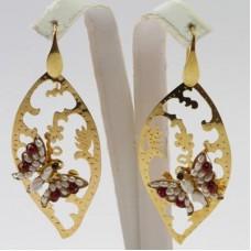 Orecchini Foglia con Farfalla [Perle, Agata] in Argento placcato Oro