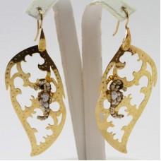 Orecchini Foglia con Ippocampo [Perle, Agata] in Argento placcato Oro