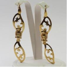 Orecchini 2 Foglie con Civetta [Perle, Agata] in Argento placcato Oro