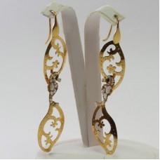 Orecchini 2 Foglie con Ippocampo [Perle, Agata] in Argento placcato Oro