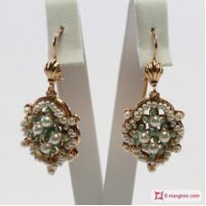 Orecchini Vintage [Perle, Avventurina] in Argento placcato Oro