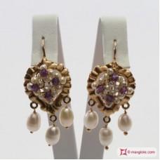 Orecchini Vintage Borbonico [Perle, Ametista] in Argento placcato Oro