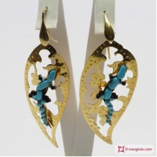 Leaf with Gecko Earrings [Turquoise] in Gold Plated Silver