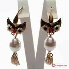 Orecchini Gufo [Perle, Corallo, Onice] in Argento placcato Oro