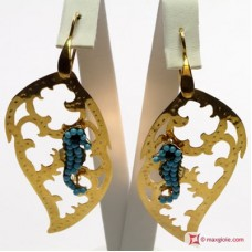 Leaf with Hippocampus Earrings [Turquoise, Agate] Gold Plated Silver