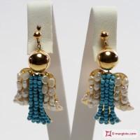 Orecchini Angelo [Turchese, Perle] in Argento placcato Oro