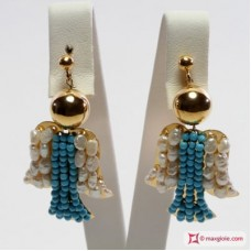 Angel Earrings [Turquoise, Pearls] in Gold Plated Silver