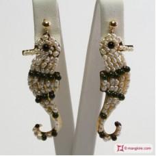 Orecchini ippocampo [Avventurina, Perle] in Argento 925 placcato Oro