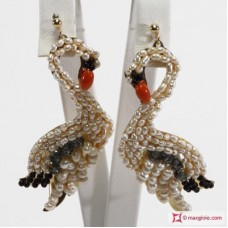 Swan Earrings [Pearls, Coral, Onyx, Crystal] in Gold Plated Silver