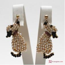 Orecchini Cane [Perle, Onice, Granato] in Argento placcato Oro