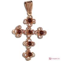 Pendente Vintage Croce [Granato, Perle] in Argento 925 placcato Oro