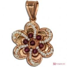 Pendente Vintage Toppa [Granato, Perle] in Argento 925 placcato Oro
