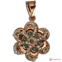 Pendente Vintage Toppa [Agata verde, Perle] in Argento 925 placcato Oro