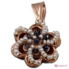 Pendente Vintage Toppa [Iolite, Perle] in Argento 925 placcato Oro
