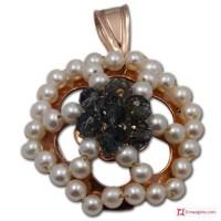 Pendente Vintage Toppa Grande [Azzurro, Perle] in Argento 925 placcato Oro