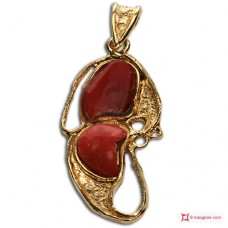 Pendente etrusco Corallo rosso 60x25mm in Argento 925 placcato Oro id12