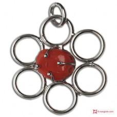 Pendente Corallo rosso 55x46mm in Argento 925 rodiato id14
