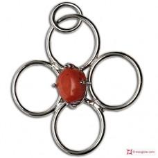 Pendente Corallo rosso 60x52mm in Argento 925 rodiato id15