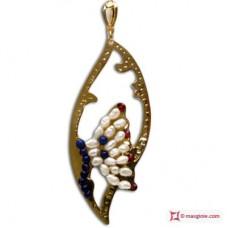 Pendente Foglia con Farfalla [Perle, Lapis, Granato] in Argento placcato Oro