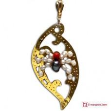 Pendente Foglia con Ragno [Perle, Corallo] in Argento placcato Oro
